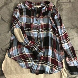 High-Low Plaid Long Sleeve Shirt